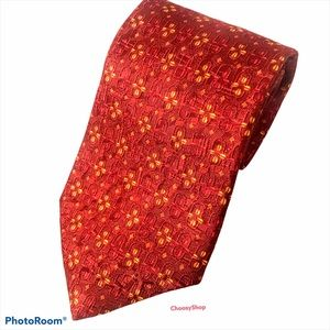 ERMENEGILDO ZEGNA Red Orange Yellow Flower Tie